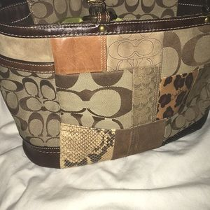 Coach Bags - Coach 1941 Multicolor Leather Snakeskin Suede Tote